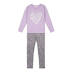 bluezoo - Girl's lilac animal print pyjama set