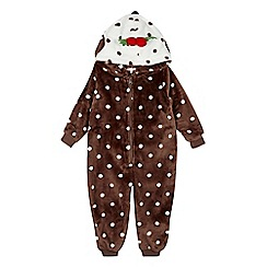 bluezoo - Girls' brown Christmas pudding onesie