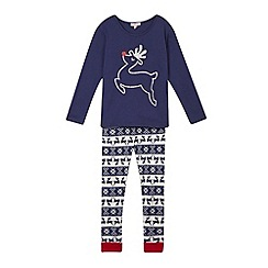 bluezoo - Girls' navy reindeer top and bottoms pyjama set