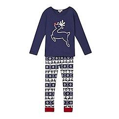 bluezoo - Girls' navy reindeer top and bottoms pyjama set