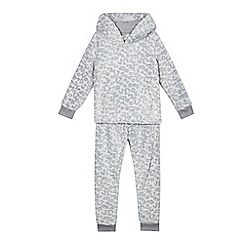 bluezoo - Girls' grey animal hoodie and bottoms set