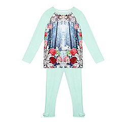 Baker by Ted Baker - Girl's aqua crystal unicorn pyjamas set