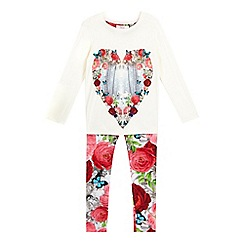 Baker by Ted Baker - Girls' cream rose and unicorn print pyjama set