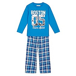 bluezoo - Boys' blue Boston top and checked bottoms pyjama set