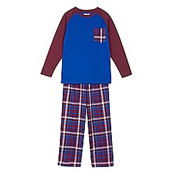 bluezoo - Boys' raglan top and checked bottoms pyjama set