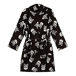 bluezoo - Boys' black skull print fleece dressing gown