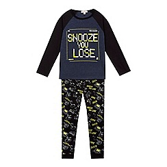 bluezoo - Boys' black 'Snooze You Lose' pyjama set