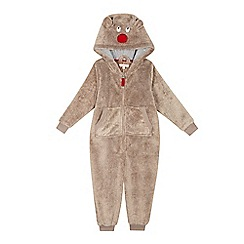 bluezoo - Boys' brown reindeer onesie