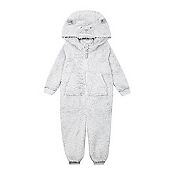 bluezoo - Baby boys' grey bear all-in-one