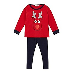 bluezoo - Boys' red reindeer pyjama top and bottoms set
