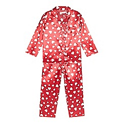 bluezoo - Girls' red heart shirt and bottoms pyjama set