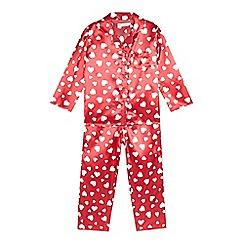 bluezoo - Girls' red heart shirt and bottoms pyjama set