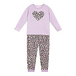 bluezoo - Girls' lilac heart microfleece pyjamas