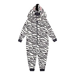 bluezoo - Girls' grey zebra onesie