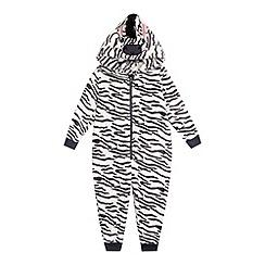 bluezoo - Girls' grey zebra onesie