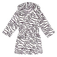 bluezoo - Girls' cream zebra print hooded dressing gown