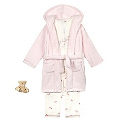 J by Jasper Conran - Girls' pink unicorn print three piece pyjama set