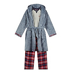 J by Jasper Conran - Boys' navy marl three piece pyjama set