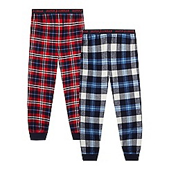 J by Jasper Conran - Pack of two red and blue boys' pyjama bottoms