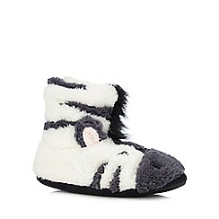 bluezoo - Girls' grey zebra slipper boots