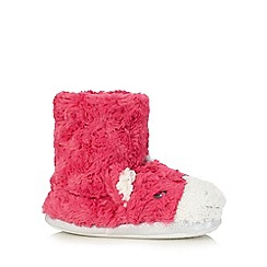 bluezoo - Girls' pink unicorn bootie slippers