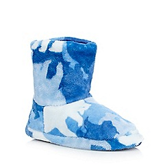 bluezoo - Boys' blue camo slipper boots