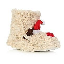 bluezoo - Children's brown reindeer bootie slippers