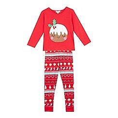 bluezoo - Girls' red Christmas pudding pyjama set