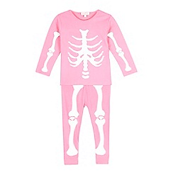 bluezoo - Girls' pink skeleton glow in the dark pyjama set