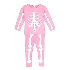 bluezoo - Girls' pink skeleton glow in the dark pyjama set