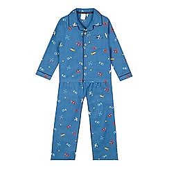 J by Jasper Conran - Boys' blue plane shirt and bottoms pyjama set
