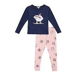 bluezoo - Girls' navy and pink pyjama set
