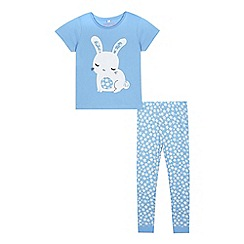 bluezoo - Girls' lilac bunny applique t-shirt and bottoms pyjama set
