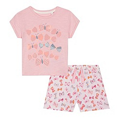 bluezoo - Girls' pink butterfly print top and shorts set