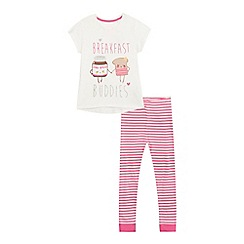 bluezoo - Girls' white 'breakfast buddies' print pyjamas