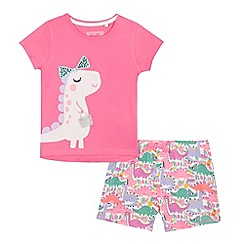 bluezoo - Girls' pink dinosaur applique pyjama top and shorts set