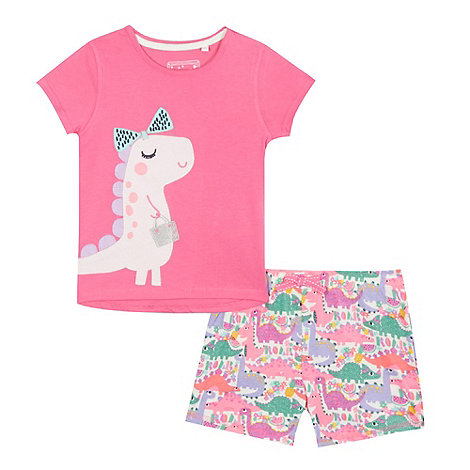 bluezoo - Girls+ pink dinosaur applique pyjama top and shorts set