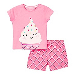 bluezoo - Girls' pink ice cream applique pyjamas top and bottoms set