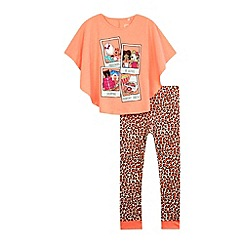 bluezoo - Girls' peach polaroid print pyjama cape top and bottoms set