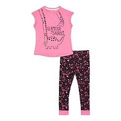 bluezoo - Girls' pink 'Glamour-saurus' print pyjama top and leggings set