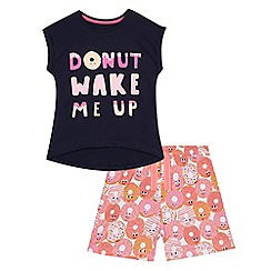 bluezoo - Girls' navy pyjama t-shirt and pink doughnut print shorts set