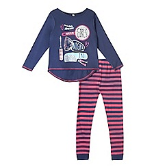 bluezoo - Girls' navy 'Night In' pyjama top and striped bottoms set
