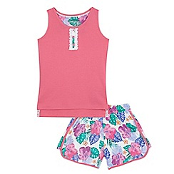bluezoo - Girls' pink pyjama vest top and floral print shorts set