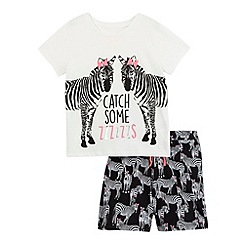 bluezoo - Girls' black and white zebra print t-shirt and shorts pyjama set