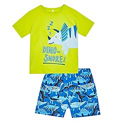 bluezoo - Boys' green 'Dino-snore' applique pyjama t-shirt and blue shorts set