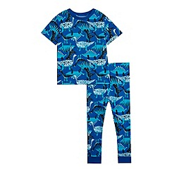 bluezoo - Boys' blue dinosaur print pyjama top and bottoms