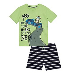 bluezoo - Boys' green monkey racing print pyjama t-shirt and navy striped shorts set