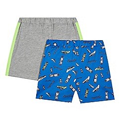bluezoo - Pack of two boys' grey and blue skateboard print pyjama shorts
