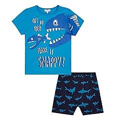 bluezoo - Boys' blue 'Make It Snappy' slogan pyjama set