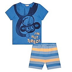 bluezoo - Boys' blue monkey print pyjama t-shirt and striped shorts set